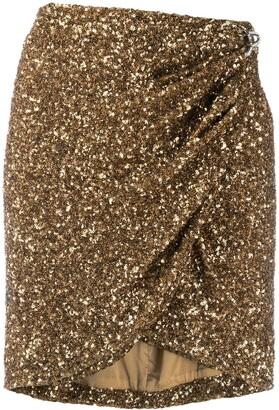 Amen Sequin Wrap Mini Skirt