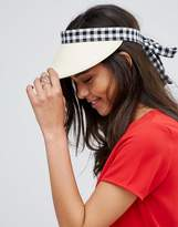 Asos Gingham Bow Straw Visor Hat