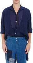 Loewe Men's Twisted-Placket Linen Tunic Shirt