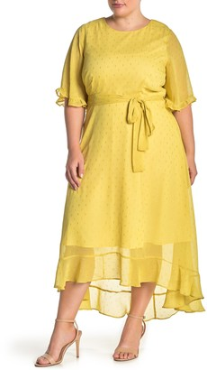 MelloDay Tie Front Lurex Chiffon Midi Dress (Plus Size)