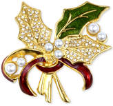 Charter Club Holiday Lane Gold-Tone Pavandeacute; and Imitation Pearl Holly Brooch, Created for Macy's