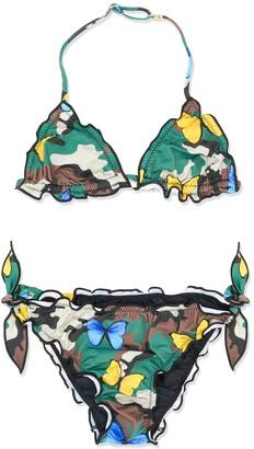 Mc2 Saint Barth Kids Camouflage Butterfly Print Bikini