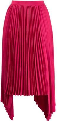 Juun.J asymmetric hem pleated skirt