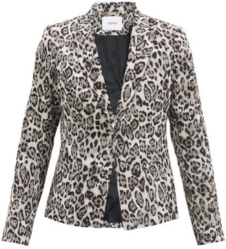Erdem Iris Single-breasted Leopard-jacquard Jacket - Light Grey