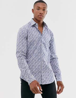 Esprit slim fit stretch shirt with grey disty floral-White