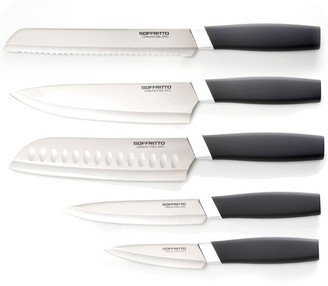 Soffritto Antibacterial 5 Piece Kitchen Knife Set Silver