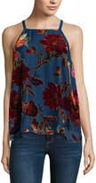 EYESHADOW GIRLS Eyeshadow Sleeveless Square Neck Velvet Floral Blouse-Juniors