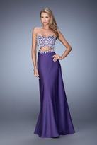 La Femme 21458 Satin Sweetheart Sheath Dress