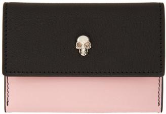 Alexander McQueen Pink and Black Skull Envelope Card Holder