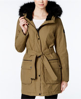 Lucky Brand Faux-Fur-Trim Belted Anorak