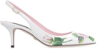 Dolce & Gabbana Printed Leather Pointy-toe Slingback