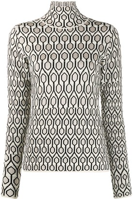 Christian Wijnants Mosaic Pattern High Neck Jumper