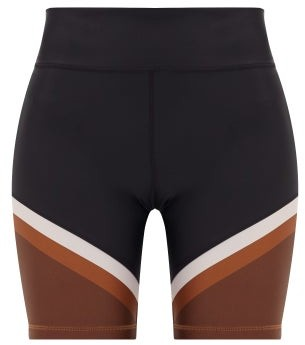 The Upside Colour Block Panelled Spin Shorts - Womens - Black Multi