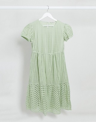 Only broderie midi smock dress in green