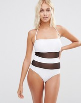 Paper Dolls Mesh Stripe Swimsuit