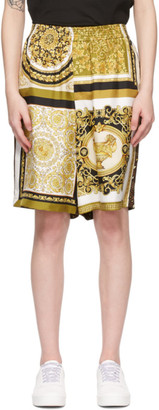 Versace White and Yellow Silk Barocco Acanthus Shorts