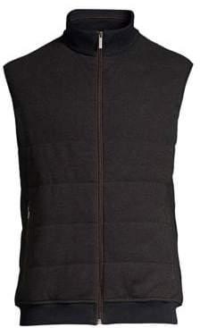 Bugatti Men's Knit Zip-Up Vest - Brown - Size Medium