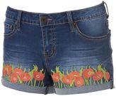 Rampage Juniors' Chloe Curvy Floral Denim Shortie Shorts