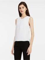 Calvin Klein Pleated Front Chiffon Sleeveless Top