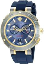 Versace Men's 'V-EXTREME PRO' Swiss Quartz Stainless Steel and Silicone Casual Watch, Color: (Model: VCN010017)