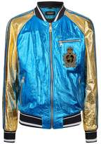 Dolce & Gabbana Metallic Leather Bomber Jacket