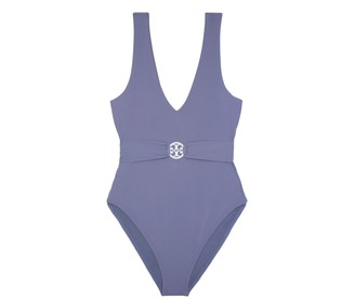 Tory Burch Miller Plunge One-Piece Swimsuit