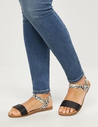 Lane Bryant Ankle-Strap Flat Sandals - Faux Snake Skin