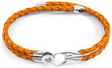 Anchor & Crew Fire Orange Conway Silver & Braided Leather Bracelet