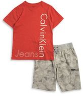 Calvin Klein Jeans Little Boys Logo Tee and Geometric Shorts Set
