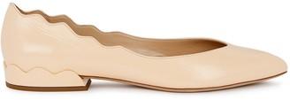 Chloé Lauren peach leather ballet pumps