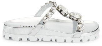 Miu Miu Jewelled Metallic Leather Slides