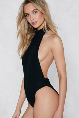 Nasty Gal Womens Back-Up Plan Ribbed Bodysuit - Black - 6