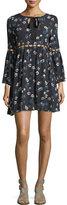 Ella Moss Adara Floral-Print Dress w/ Ladder Stitching
