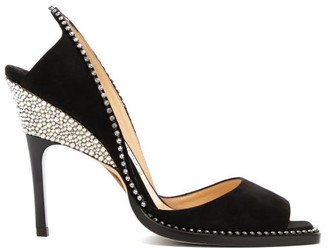 Jimmy Choo Bel 100 Crystal-embellished Suede Sandals - Black