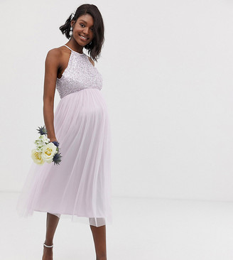 Maya Maternity Bridesmaid halter neck midi tulle dress with tonal delicate sequins in soft lilac-Purple