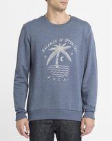RVCA Blue Palm Moon Round-Neck Sweatshirt
