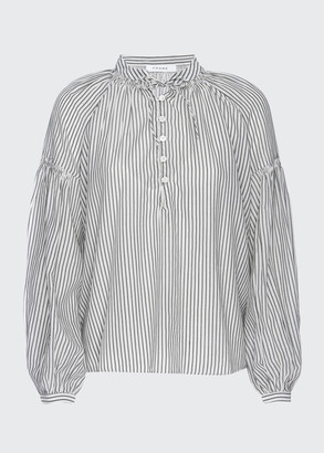 Frame Billow Long-Sleeve Pinstripe Top