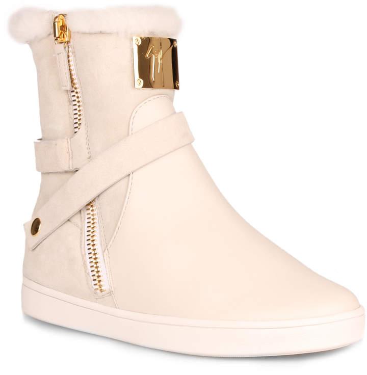 Giuseppe Zanotti Off white shearling sneaker
