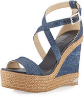 Jimmy Choo Portia Denim Platform Wedge Sandal, Navy