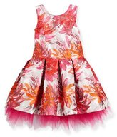 Zoe Sleeveless Pleated Floral Brocade Dress, Pink, Size 7-16