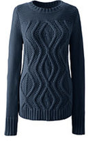 Lands' End Women's Tall Drifter Cotton Cable Sweater-Gemstone Teal