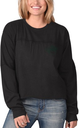 G Iii Women's G-III 4Her by Carl Banks Black Minnesota Wild Flight Song Crop Long Sleeve T-Shirt