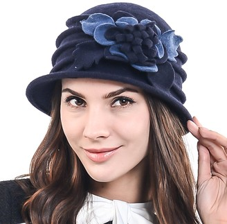 HISSHE Women's Elegant Flower Wool Cloche Bucket Ridgy Bowler Winter Hat C020 (Navy)