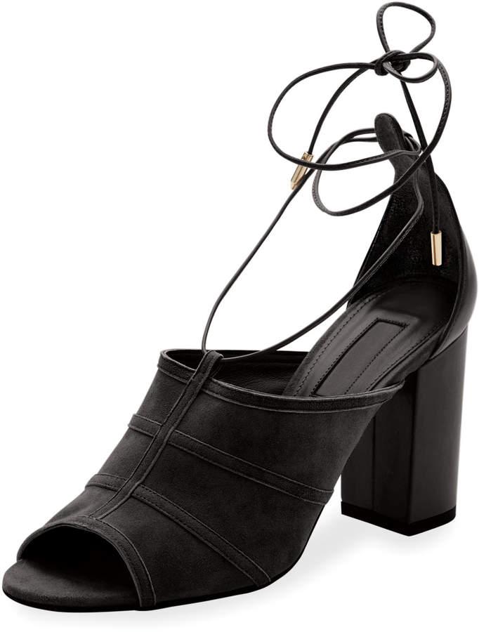 Aquazzura Very Eugenie Suede Block-Heel Sandal