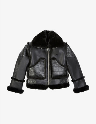 The Kooples Sport Faux-fur trimmed faux-leather jacket