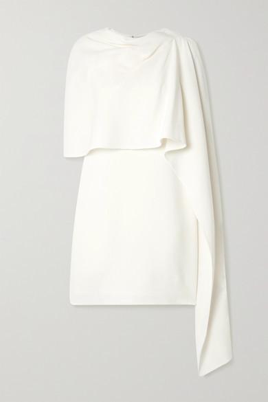 Oscar de la Renta Layered Draped Wool-blend Crepe Mini Dress - Ivory