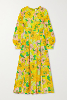 Rixo Emma Pleated Floral-print Modal Midi Dress - Yellow