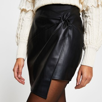 River Island Womens Black Faux leather twist front mini skirt