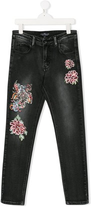John Richmond Junior TEEN floral embroidered jeans