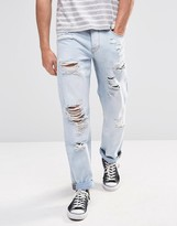 Asos Straight Jeans With Rips In Light Blue